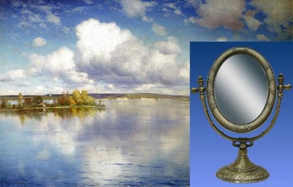 Зеркало настольное овал